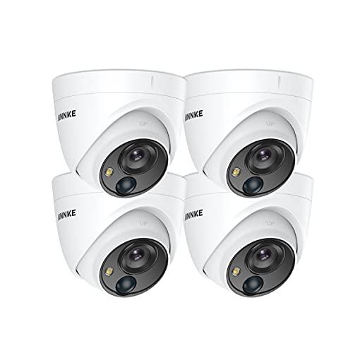 ANNKE 5MP 4 Pcs Caméra de Surveillance Extérieure Intérieure Filaire, HD-TVI Caméra de Sécurité Additionnelle avec Alarme de Lumière Visuelle Blanche, PIR Senor, IP67 Étanche Dôme
