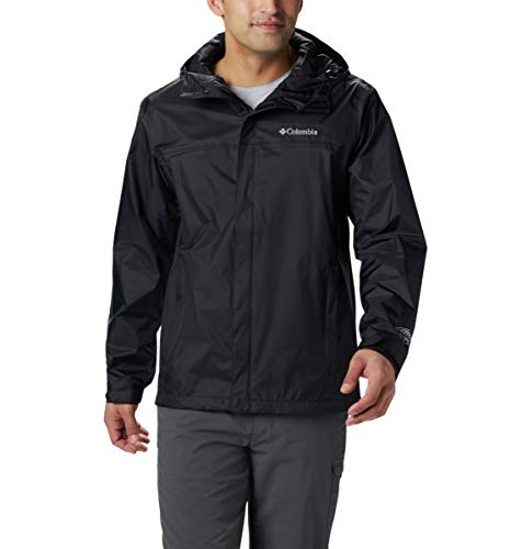 Mens Waterproof Breathable Black Rain Jacket