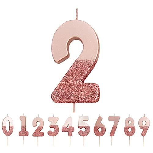 Talking Tables Vela Número 2 con Brillo De Oro Rosa. Decoración para tartas de primera calidad. Bonito, Brillante para niños, Adultos, Fiesta de cumpleaños número 21, Aniversario, Hito