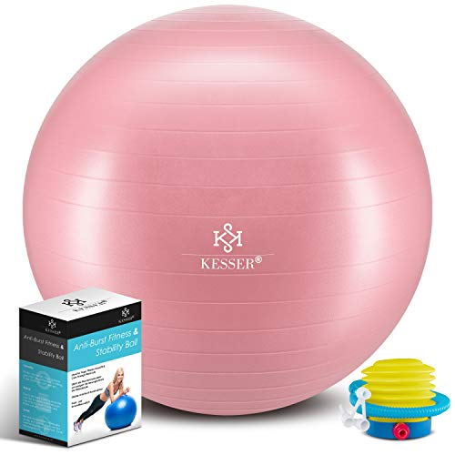 KESSER® Gymnastikball mit Luftpumpe Pumpe - Dicker Yogaball 85cm BPA-Frei | Sitzball Büro Anti-Burst als Fitness Yoga Core Büro-Stuhl als Fitness Kleingeräte, Balance Stuhl Gym-Home-Büro, Rosé Gold