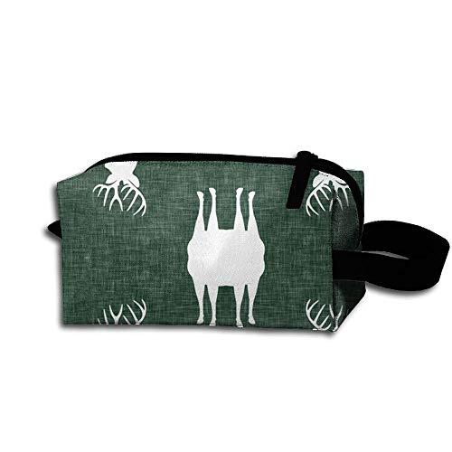 Travel Makeup Deers On Green Beautiful Waterproof Cosmetic Bag Quick Makeup Bag Pencil Case