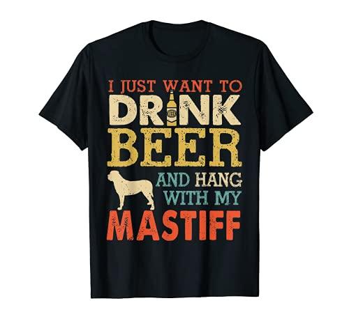 Mastín Papá Bebida Cerveza Colgado Con Perro Divertido Hombres Vintage Camiseta