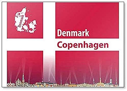Kühlschrankmagnet mit Abbildung von Kopenhagen City Skyline mit Flagge & Karte von Dänemark