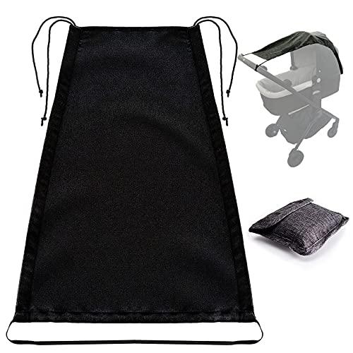 Universal Sombrilla Carrito Bebé, Funda Parasol para Cochecito de Bebé, Parasol Cochecito Ajustable,Fácil de Instalar Protección UV 50+ y Función de Persiana Enrollable (Negro)