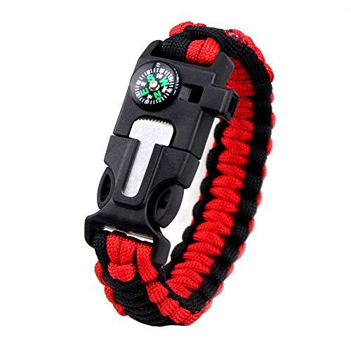 MansWill 5 en 1 pulsera de supervivencia, nuevo 7 Core Paracord de emergencia deportes pulsera Gear Kit impermeable brújula, silbato de rescate, iniciador de fuego multi-herramienta Wilderness aventura accesorios, Hombre, rojo y negro