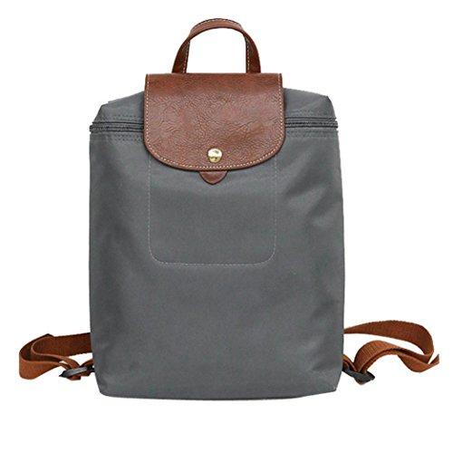 HARRYSTORE Leisure Travel Nylon Zipper Bag Student Backpack Square Folding Shoulder Casual Daypacks Bag (24cm*10cm*33cm, Gray)