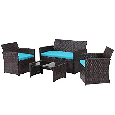 4 Pieces Outdoor Patio Furniture Set Brown Wicker Rattan Cousioned Sectional Conversation Sofa with Coffee Tea Table for Backyard Porch Garden Poolside Balcony Blue