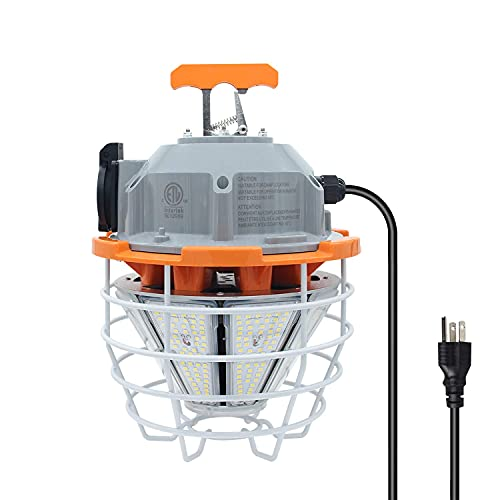 150 Watts LED Temporary Work Light Fixture Daylight White 5000K 22250Lm Portable Hanging Lamp Waterproof Jobsite Lighting Stainless Steel Protective Cover for Outdoor Construction High Bay Lights