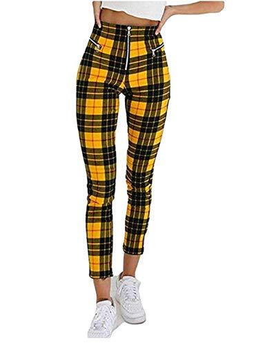 Wide.ling Hosen Damen High Waist Kariert Slim Fit Lang Elegant Freizeithosen Mädchen Vintage Mode Für Business Outdoor (Gelb und schwarz, S)