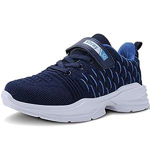 Vivay Kids Running Tennis Shoes Lightweight Casual Walking Sneakers for Boys for Big Kid(1-Dark Blue,4 Big Kid)