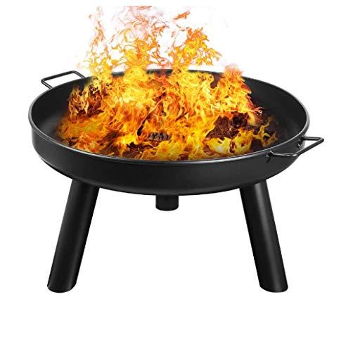 MaxxGarden - Feuerschalen Für Den Garten (Ø60cm) - Feuerschale Outdoor Rund - Feuerstelle Garten mit herausnehmbarer Feuerschale mit Grillrost-Design als Terrassenkamin aus Cortenstahl - Schwarz