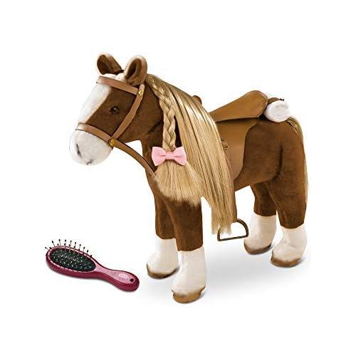 Götz 3402375 Cavallo da pettinare Brown Beauty (altezza al garrese 37 cm) - cavallino di peluche marrone alto 52 cm per bambole in piedi - con sella, briglie e coperta da picnic.