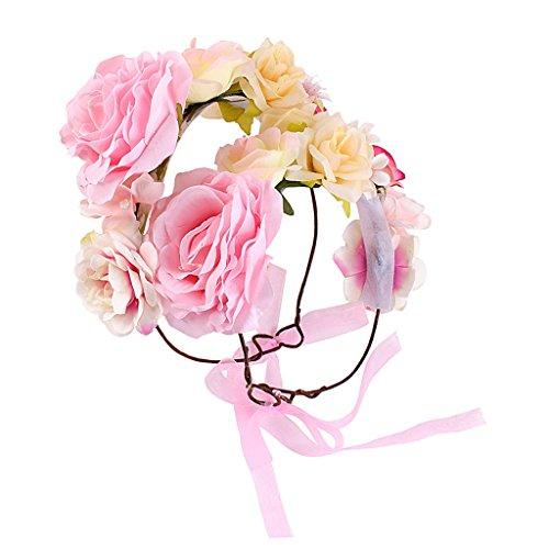 Blumen Stirnband Blumenkrone Blumenkranz Boho Blumen Haarkranz Haarband Haarschmuck Kopfschmuck für Hochzeit Parteien Halloween - Rosa (Mutter und Tochter)