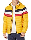 Tommy Hilfiger Men's Water Resistant Ultra Loft Filled Hooded Puffer Jacket, Yellow Tricolor Stripe, Large