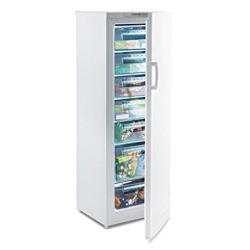 Klarstein Iceblokk 225 - Congelador de 4 estrellas, 212 litros, 7 pisos, 170 cm de alto, Modo flash free, Temperatura de -16 a -22 °C, Consumo anual 198 kWh, Puerta intercambiable, Blanco