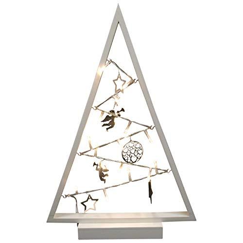 DEGAMO Weihnachtsdeko Baum Holz 27x40,5cm, Farbe Weiss, 15 LED