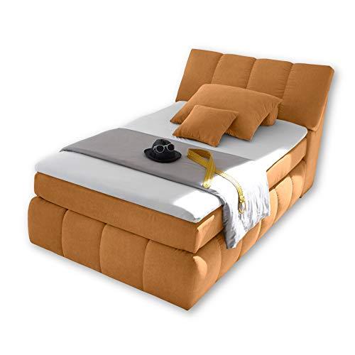 TOLEDO 2 Boxspringbett 120x200 mit Bettkasten, Safran - Bequemes Bett mit 7-Zonen-Federkern Matratze H2-H3 & Komfortschaum Topper - 121 x 110 x 235 cm (B/H/T)