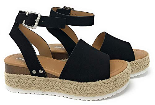 Soda Topic Women's Open Toe Ankle Strap Espadrille Sandal,Black Nubuck,8