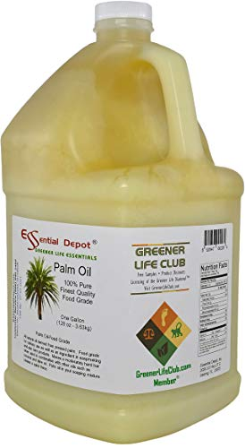 Palm Oil - RSPO Certified - Sustainable - Food Grade - Kosher - Not Hydrogenated - 1 Gallon - safety sealed HDPE container with resealable cap