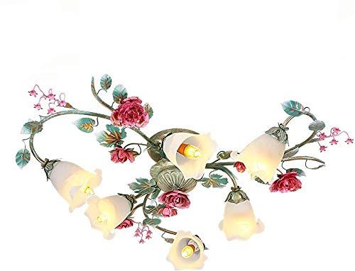 UWY Lámpara de Techo Floral en Metal con Cortinas de Vidrio Blanco en Estilo provenzal para Dormitorio, Sala de Estar, Cocina Classic 6 x 60W E14 Contiene Bombillas LED, 6 Llamas