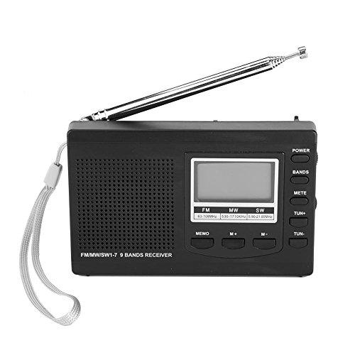 Socobeta Tragbare Mini-Radios mit digitalem Wecker Tragbar für Radiosender Funktion(Black)
