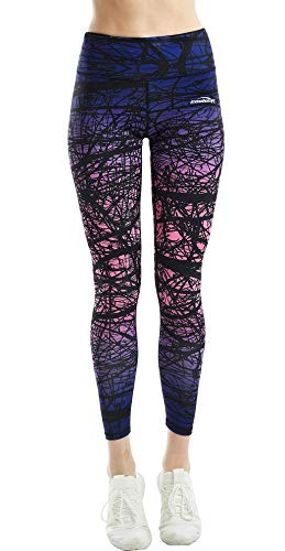 COOLOMG Damen Tights Yoga Hosen Kompression Leggings Sport Trainingshose Lang Wald Lila, M