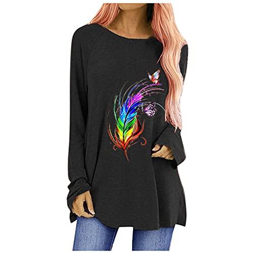 Damesblouse, dames T-shirt, herfst mode casual print ronde hals lange mouwen T-shirt tops, herfst en winter blouse, zwart, M