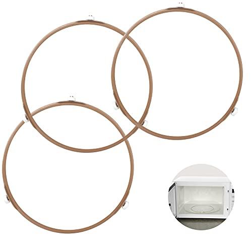 Anillo de Soporte Giratorio de Microondas de 22cm, Soporte Placa de Giratoria Vidrio 3 Pcs Anillo de Rodillo Giratorio Universal Anillo para Microondas para Bandeja para Horno Microondas para Cocina