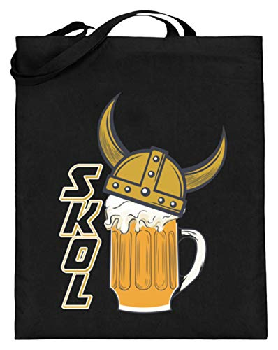SPIRITSHIRTSHOP Wikinger Helm Trinkspruch Bier Honigwein - Jutebeutel (mit langen Henkeln) -38cm-42cm-Schwarz