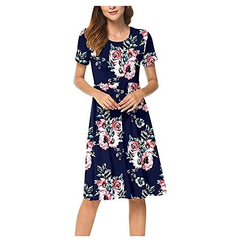 Xmiral Kurzarmkleider für Damen Sommer Beiläufig Hohe Taille Taillenkleid mit Taschen(e-Marine,S)