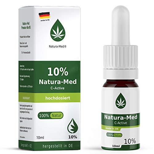 Natura Med10% C-Active Natur Öl Tropfen 10ml |100% reines Naturprodukt•vegan•EU zertifizierter Anbau•hochdosiert und rein – made in DE - Prozent