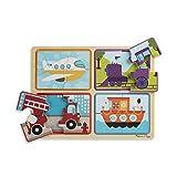 Melissa & Doug - Natural Play - Puzzle de madera: Preparados, listos, ya (Cuatro puzzles de vehículos de 4 piezas cada uno)