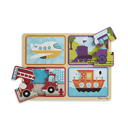 Melissa & Doug Natural Play Holzpuzzle: Auf die Plätze, fertig, los (Vier 4-teilige Fahrzeugpuzzles)