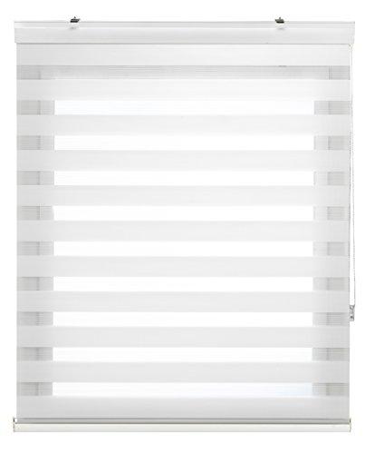 Blindecor Vela - Estor enrollable de doble capa, Noche y Día, Blanco roto, 140 x 180 cm, ancho x largo