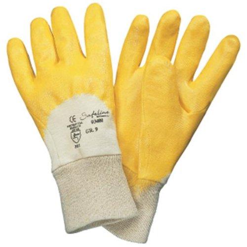 Safeline Promat Handschuhe Nitril Gr.10 gelb teilbesch. SAFELINE PROMAT m.Strickbund