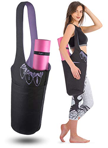 Zenifit Yoga Mat Bag - Long Tote with Pockets - Holds More Yoga Accessories. Cute Yoga Mat Holder with Bonus Yoga Mat Strap Elastics. Black and Lavender Purple Yoga Mat Bags and Carriers for Women
