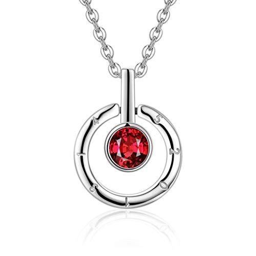 Collar Mujer Colgante Joyería S925 Collar de Plata con Incrustaciones de Granate Colgante de Regalo de Las Mujeres Collar de Cristal Collares