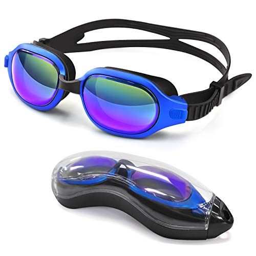 Letsfit Swim Goggles, No Leaking Anti-Fog Indoor Outdoor Swimming Goggles with UV Protection Mirrored Clear Lenses for Adult Women Men Youth