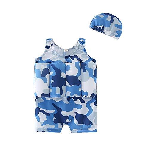 Traje de baño flotante para niños con gorro de natación para niños y niñas, de una sola pieza, para aprender a nadar, chaleco de entrenamiento para baño y playa Azul Camuflaje azul. 110 cm