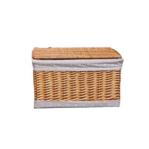 Storage Basket Cesta tejida con tapa para zapatos, cesta de bambú (color: color claro, tamaño: 31 x 21 x 14 cm)
