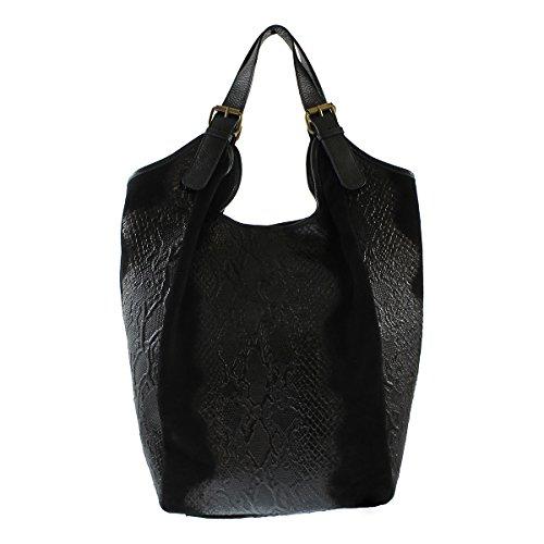 Chicca Borse - Bolso Mujer, Negro (Nero), 46 cm