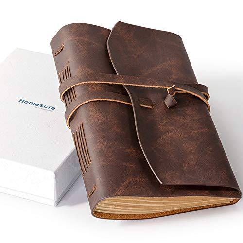Homesure Leather Journal Notebook(6x8) - Rustic Handmade Leather Bound Journals for Men and Women - Kraft Lined Paper 240 Pages, Leather Book Diary Notebook Gifts, Brown