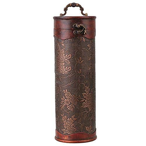CCEKD Caja de Madera Cylinder Vintage Retro Wooden Vintage Wine Bottle Storage Gift Box Case Holder, Marrón, 34 cm x 11.5 cm x 11 cm