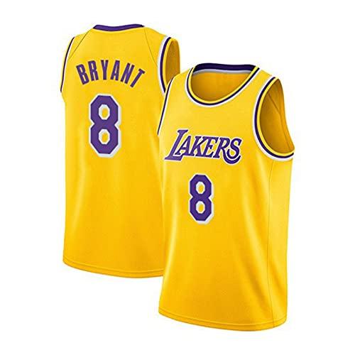 Kóbé 8# Jerseys, Láker Jerseys, Camisetas de Baloncesto para Hombres y Mujeres, Ropa Deportiva Transpirable de Malla, Costura de Moda de Moda Hip-Hop Fashion Street Yellow-M