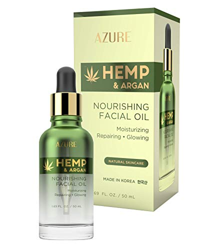 AZURE Hemp & Argan Nourishing Facial Oil - Moisturizing, Smoothing & Rejuvenating | Reduces Appearance Of Wrinkles, Fine Lines & Creases | Repairs Dehydrated Skin | Made in Korea - 50mL