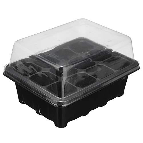 12 Zellen-Plug-Propagation Box Kit Dome + Tray + Einsätze mit Löchern Propagation Tray Pflanzensammen Cloning Insert Clone wachsen Box (black & transparent)