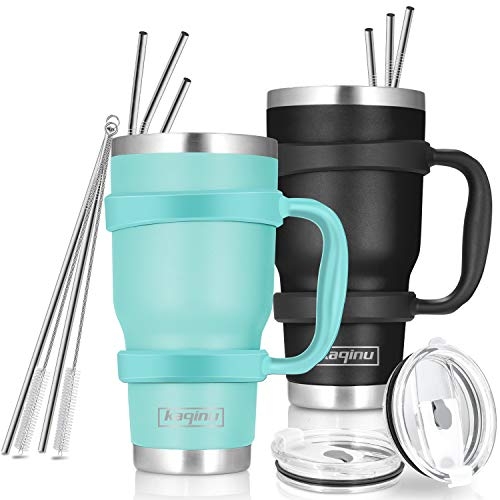 30oz Tumbler , 2 Packs Stainless Steel Double Wall Vacuum Insulated Tumbler Travel Mug With 10Pcs Reusable Straw, 2Pcs Slider Lid, Cleaning Brush, 2Pcs Handles (Black + Teal)