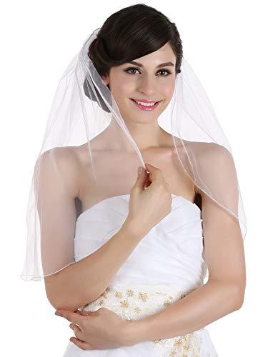 1T 1 Tier Hemmed Pencil Edge Bridal Wedding Veil -Ivory Shoulder Length 25' V523