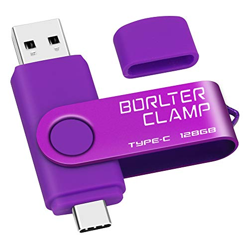 128GB Memoria USB Tipo C, BorlterClamp Doble Unidad Flash (USB C y USB-A 3.0), Type-C OTG Pendrive Memory Stick para Smartphones Android Samsung S10 S8, Huawei Honor, etc, Tableta y Laptop (Púrpura)