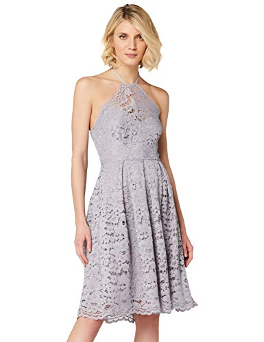 Amazon-Marke: TRUTH & FABLE Damen Kleid mit Neckholder aus Spitze, Grau (Dapple Grey), 38, Label:M